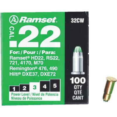 Ramset .22 Caliber Level 3 Green Powder Load (100 Pack)