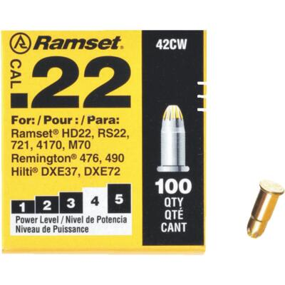 Ramset .22 Caliber Level 4 Yellow Powder Load (100 Pack)