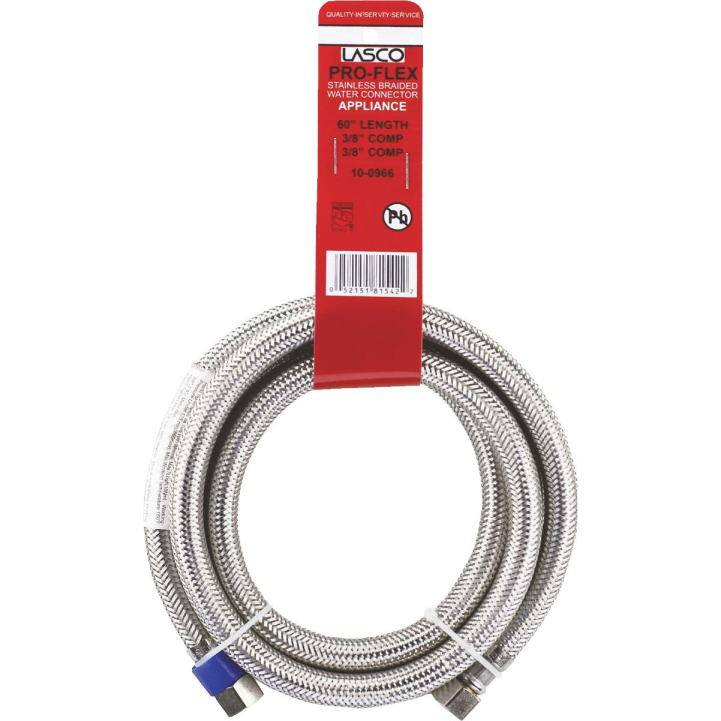 Lasco 3/8 In.C x 3/8 In.C x 60 In.L Braided Stainless Steel Flex Line Appliance Water Connector Image 2