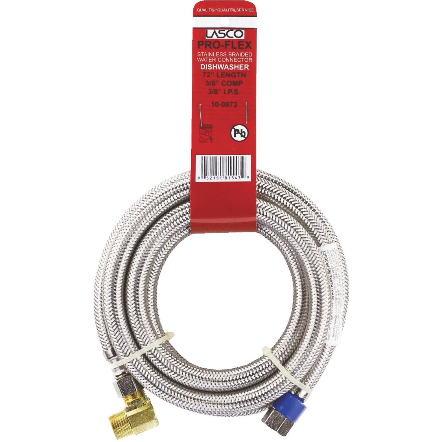 Lasco 3/8 In.C x 3/8 In.MIP Elbow x 72 In.L Braided Stainless Steel Flex Line Appliance Water Connector Image 2