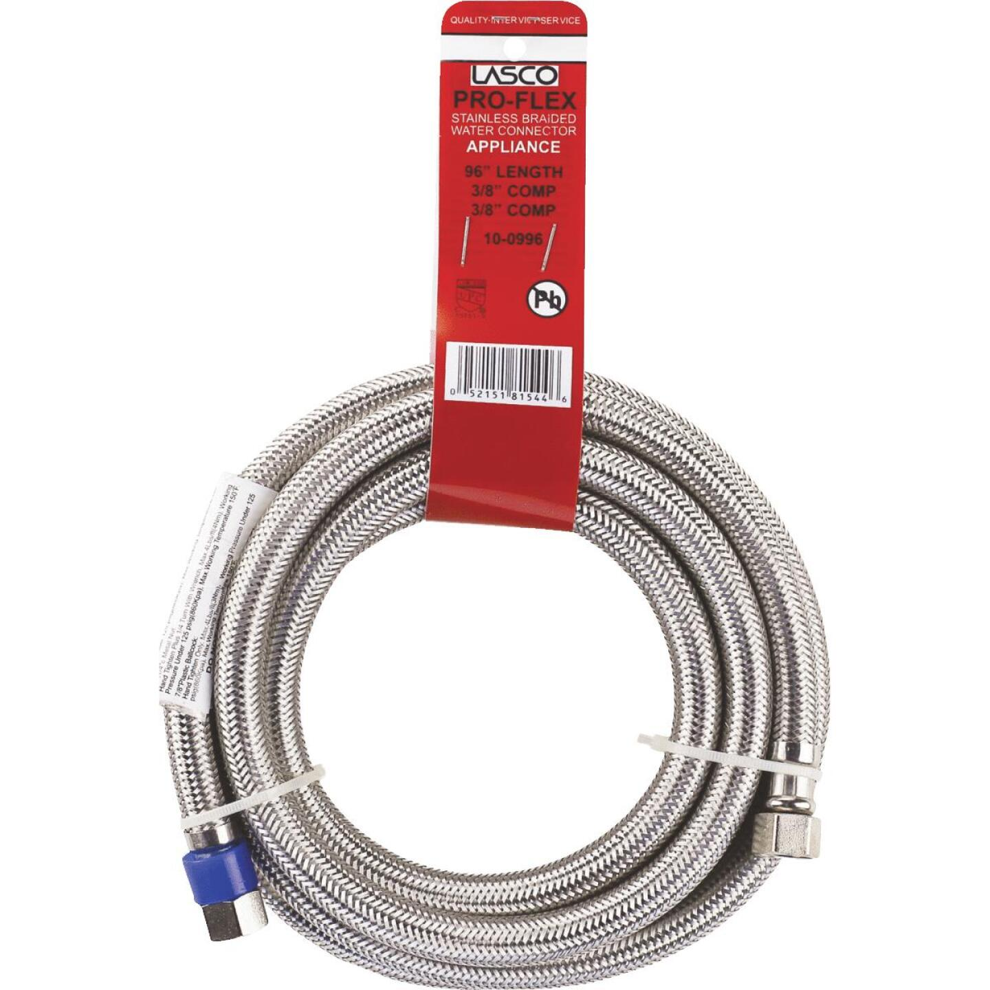 Lasco 3/8 In.C x 3/8 In.C x 96 In.L Braided Stainless Steel Flex Line Appliance Water Connector Image 2