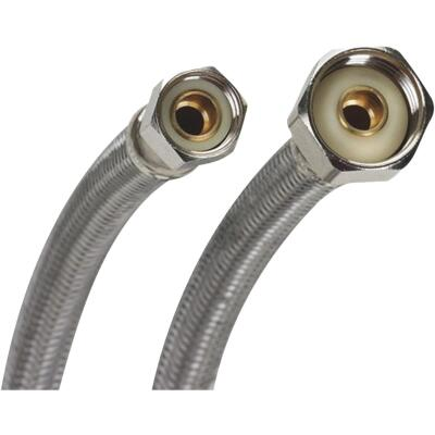 Fluidmaster 3/8 In. C x 1/2 In. FIP Polymer Core W/Braided stainless Steel Faucet Connector