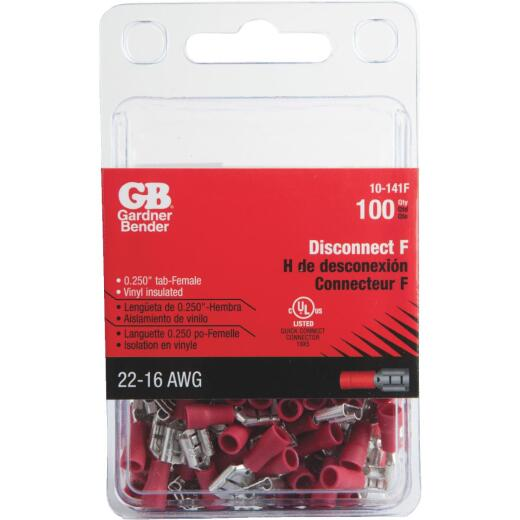 Gardner Bender 22 to 16 AWG Female Red Vinyl-Insulated Barrel Disconnect (100-Pack)