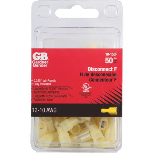 Gardner Bender 12 to 10 AWG Female Yellow Fully-Insulated Disconnect (50-Pack)