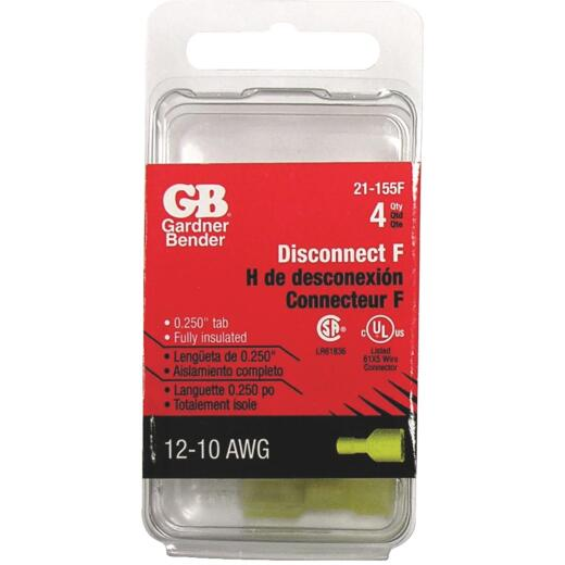 Gardner Bender 12 to 10 AWG Female Yellow Fully-Insulated Disconnect (4-Pack)