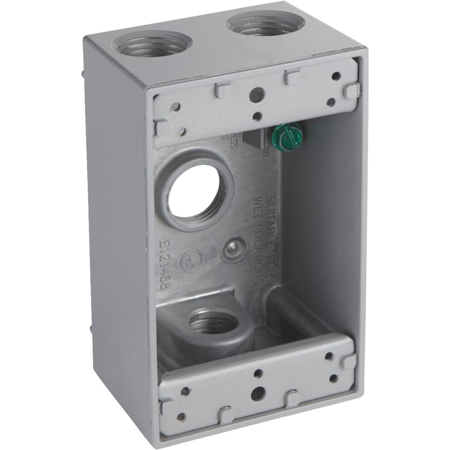 Bell Single Gang 1/2 In. 4-Outlet Gray Aluminum Weatherproof Electrical Outdoor Outlet Box Image 1