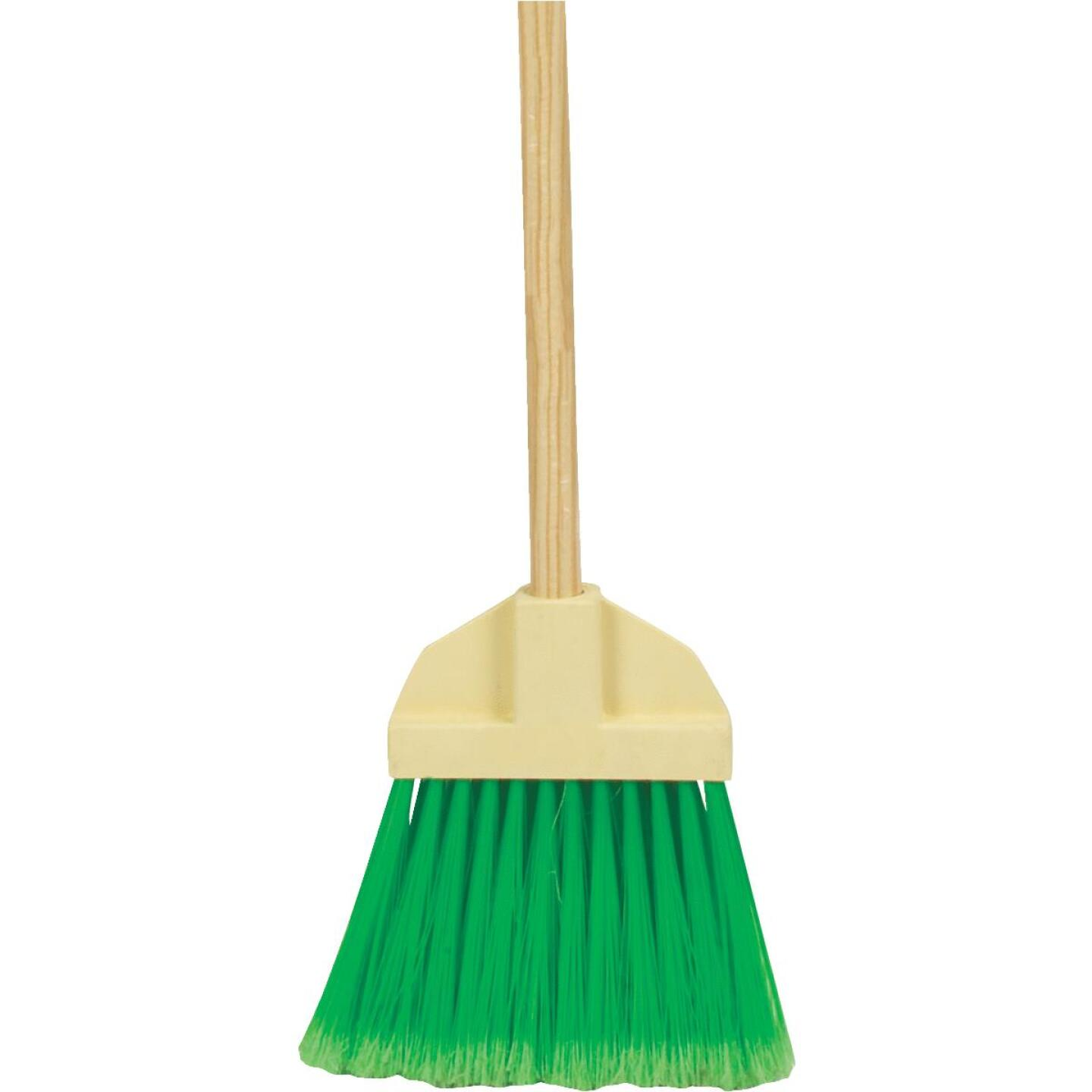 Bruske 9 In. W. x 37 In. L. Wood Handle Flared Lobby Household Broom, Green Bristles Image 1