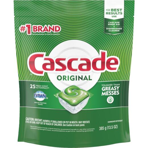 Cascade Action Pacs Fresh Dishwasher Detergent Tabs, 25 Ct.