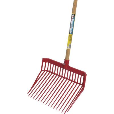 Little Giant DuraFork Polycarbonate 18-Tine 52-1/2 In. Hardwood Handle Large Stable Fork, Red