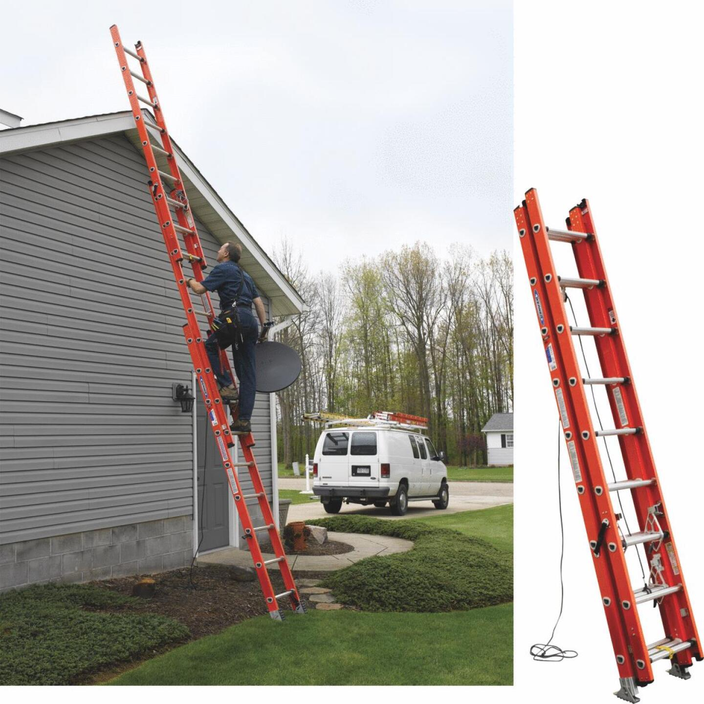 Werner 24 Ft. Compact Fiberglass Extension Ladder with 300 Lb. Load Capacity Type IA Duty Rating Image 1