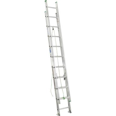 Werner 20 Ft. Aluminum Extension Ladder with 225 Lb. Load Capacity Type II Duty Rating