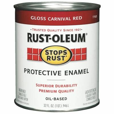 Rust-Oleum Stops Rust Oil Based Gloss Protective Rust Control Enamel, Carnival Red, 1 Qt.