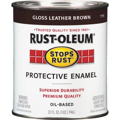 Rust-Oleum Stops Rust Oil Based Gloss Protective Rust Control Enamel, Leather Brown, 1 Qt.
