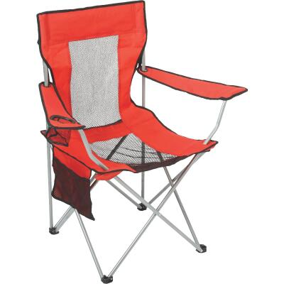 Outdoor Expressions Red Polyester Mesh Folding Chair